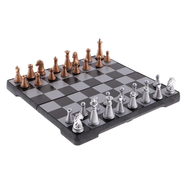 Jeu d'échecs de voyage portatif bronze argent 6
