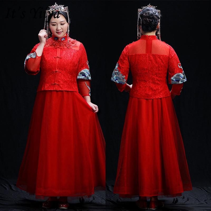 It's Yiiya Formal Dress High Collar Three Quarter Sleeve Robe De Soiree DX006 Embroidery Plus Size Evening Dresses for Women