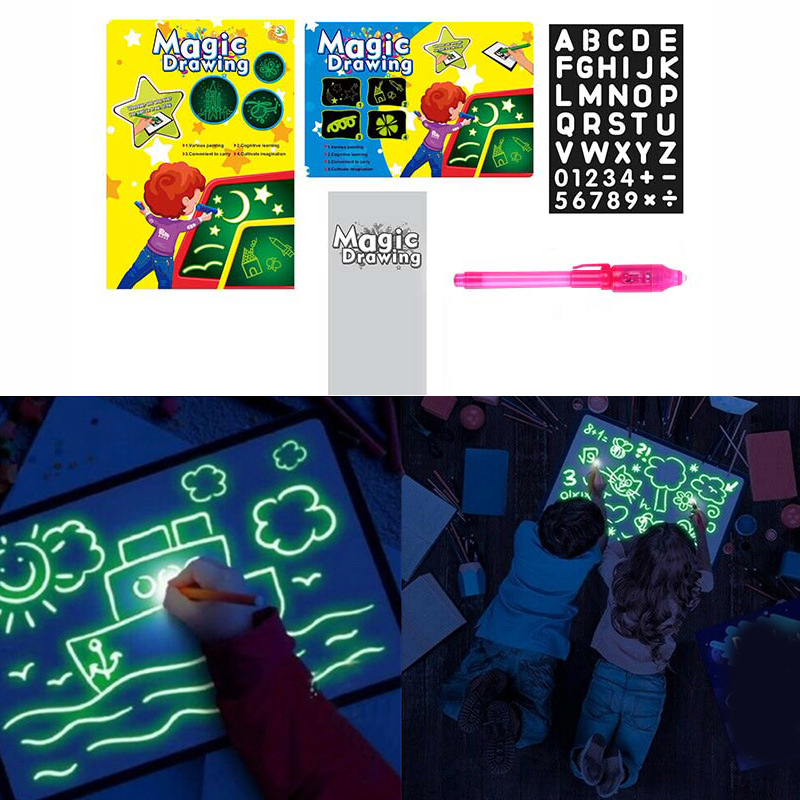Magic Drawing Board Set In Dark Children Funny Toys Draw With Night Light Writing Educational Noctilucent Kids Toy
