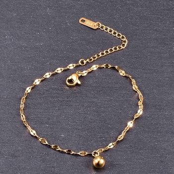 Amaiyllis  18k Gold Minimalist Lips Chain Anklet Braeclet Gold Round Beads Bracelet Personality Simple Fashion For Women недорого