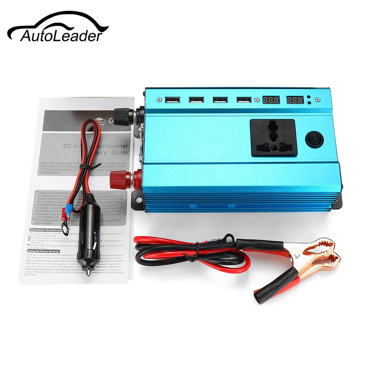 Voltage Transformer Sine Wave Converter Solar Power Inverter PEAK 1000W/2000W LED 4USB 12V/24V DC to 110v/220V AC 50Hz Overload