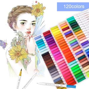 Image 2 - כפולה טיפ אמנות סמני 60/100/120 צבעים קליגרפיה צבעי מים מברשת צבע עט סט למבוגרים צביעת ספרים