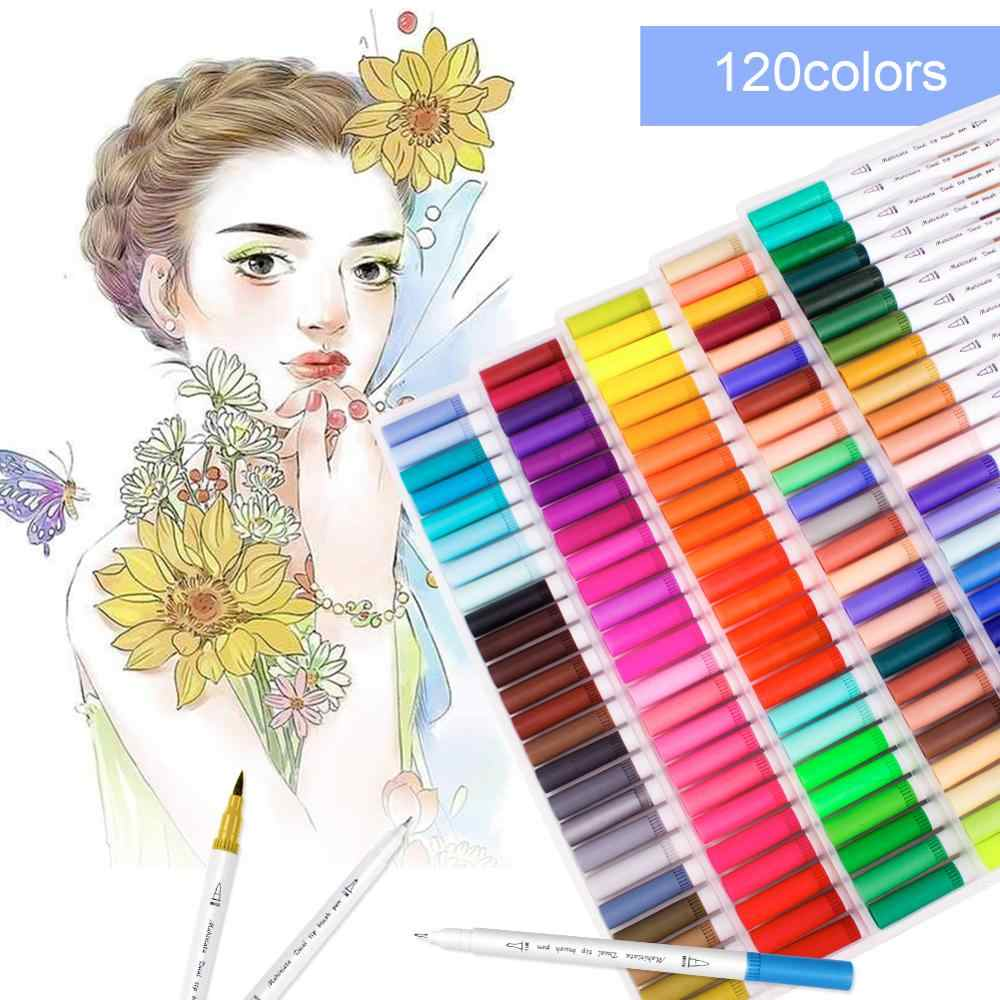 Dual Tip Art Markers 60//100//120 Colors Calligraphy Watercolour Paint Brush Pen