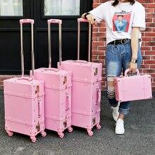 Leinasen alta qualidade menina de couro do plutônio trole saco de bagagem conjunto, linda mala do vintage cor-de-rosa completa para o sexo feminino, retro presente da bagagem