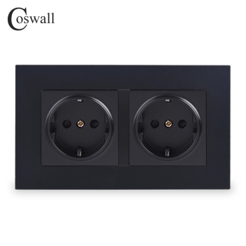 Coswall Simple Style PC Panel Double EU Russia Spain Wall Socket Grounded With Children Protective Door White Black Grey Gold - discount item  1% OFF Electrical Equipment & Supplies