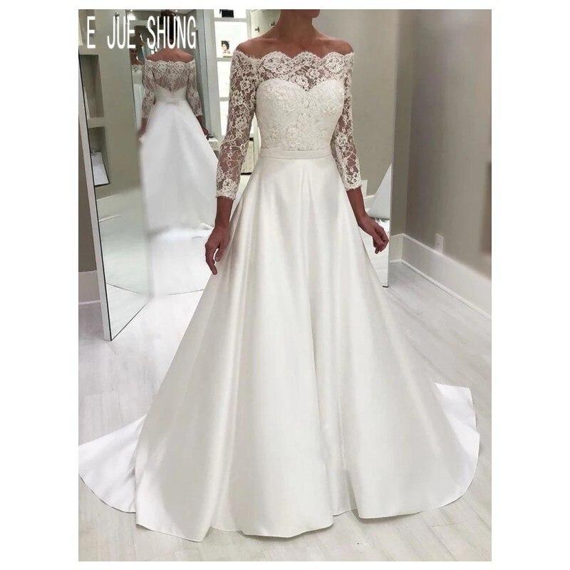 E JUE SHUNG Classic A  Line Wedding Dresses Off Shoulder Illusion Long Sleeve Button Back Vestido De Novia Bridal Gowns Custom