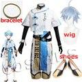 Костюм для косплея по аниме «Genshin Impact», костюм чонгюнь из игры «Genshin Impact Chong Yun» на Хэллоуин, голубой парик и шапочка