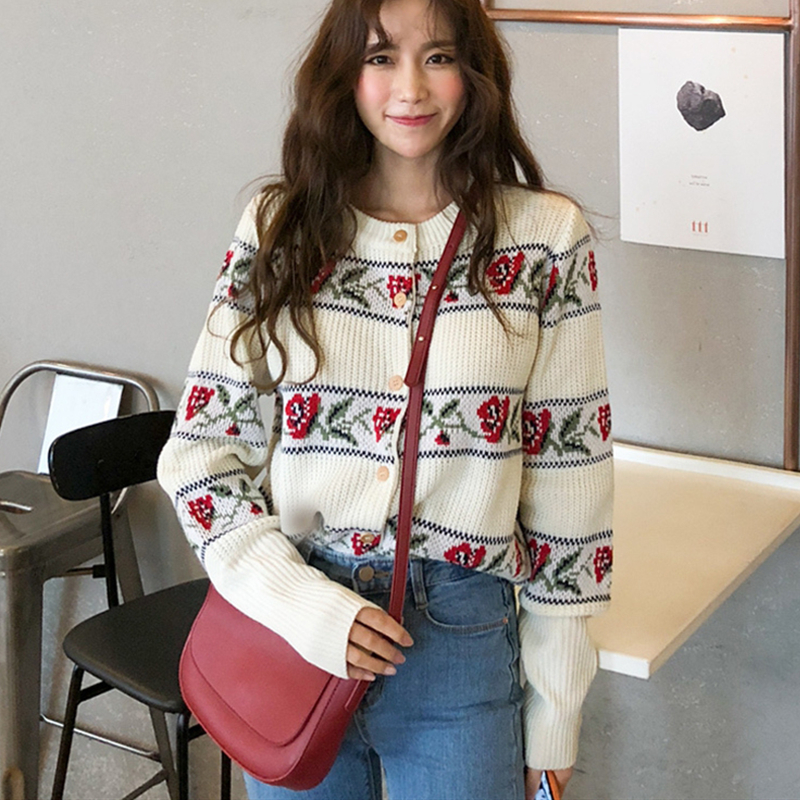 YAMDI femmes cardigan pull femme vintage simple boutonnage fleuri tricots point ouvert pull broderie bohème boho pull