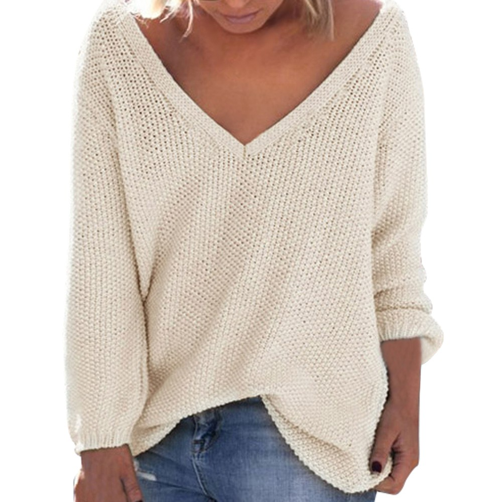 women pullover knitted Women's Fall Winter Loose Long Sleeves V-Neck V-neck solid color many color Pullover new