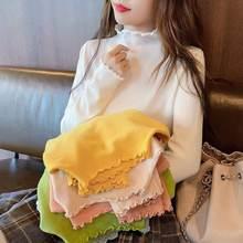 Женский Однотонный свитер с длинным рукавом Свободная трикотажная