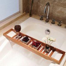 Bamboo extension antiskid bathroom multi function bathtub shelf toilet spa shelf