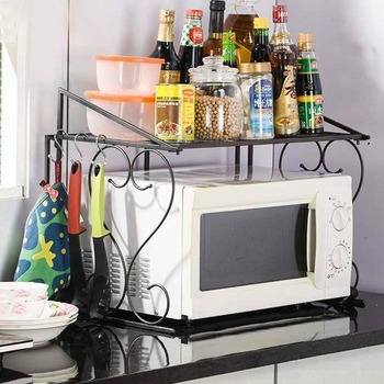 Stand for Storage Rack Shelf for Microwave Oven Kitchen Accessories Folding Rack Save Space Home Goods Double Layered Design