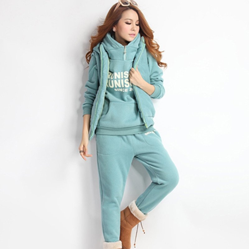 Autumn And Winter Leisure Suit Hooded Sweatshirt Sports Suit Women's Fashion Plus Velvet Ladies Three-piece