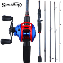 Sougayilang NEW Combo 1 8m- 2 4m Portable 5 Section Casting Fishing Rod and 13+1BB 7 0 1 Gear Ratio Baitcasting Reel Fishing Set cheap Rod+Reel Stainless Steel 2 4 m Ocean Boat Fishing Ocean Rock Fshing Ocean Beach Fishing Lake River Reservoir Pond stream