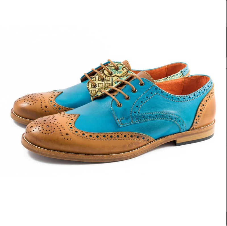 Brogue New High Quality Genuine Leather Color Mixing Men Brogues Shoes  Mens Loafers Leather  Zapatos De Hombre D223