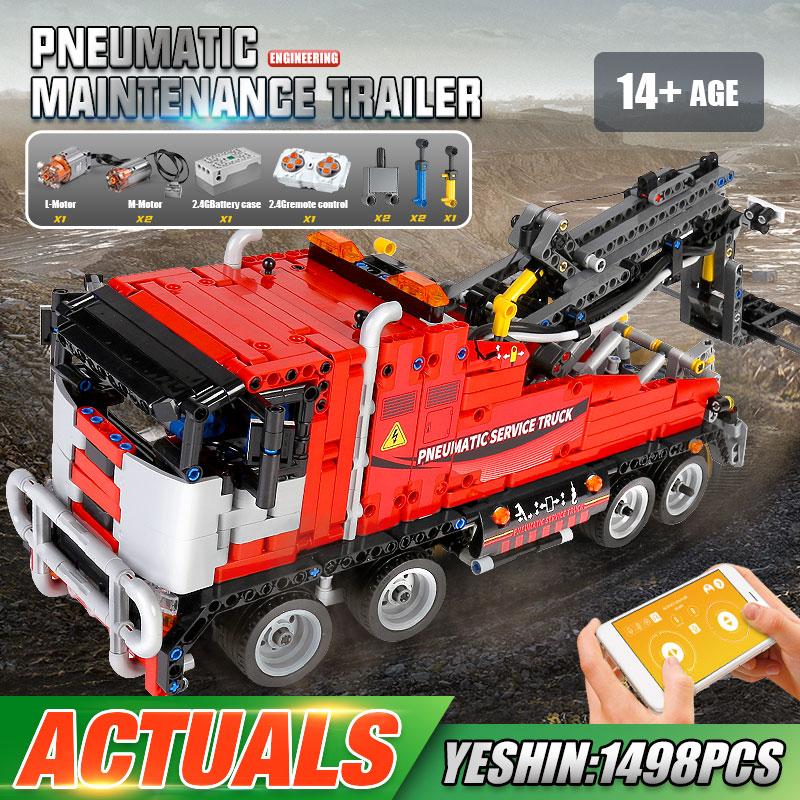 MOULD KING 19001 The APP RC Motorized Pneumatic Service Truck High-Tech Building Blocks