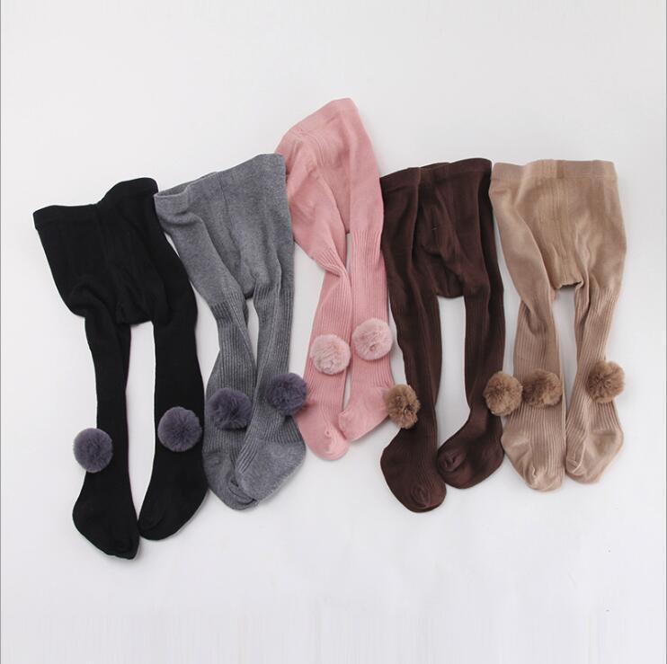 Outono inverno quente meia-calça bonito pompom design as meninas da criança do bebê recém-nascido meias crianças lotação para as crianças roupas 0-8Yrs