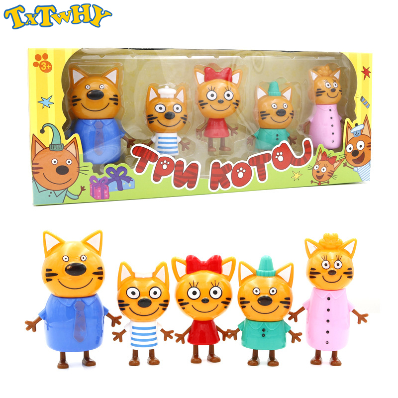 Cartoon Russian Three Happy Cats Kittens Action Figures Doll Russian Cat Animals Figurines For Kid Children Christmas Opp Bag