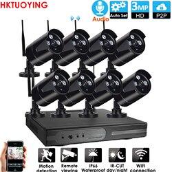 Plug & play 8CH 3MP HD аудио беспроводной NVR комплект P2P 3,0 P Крытый Открытый ИК ночного видения безопасности 3.0MP IP камера WIFI CCTV система