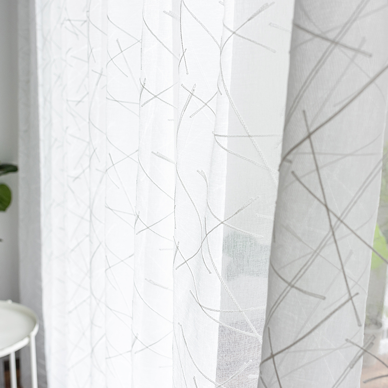 White Embroidery Sheer Curtains For Living Room Thread Design Tulle Voile Curtains In The Bedroom Home Decoration Curtain