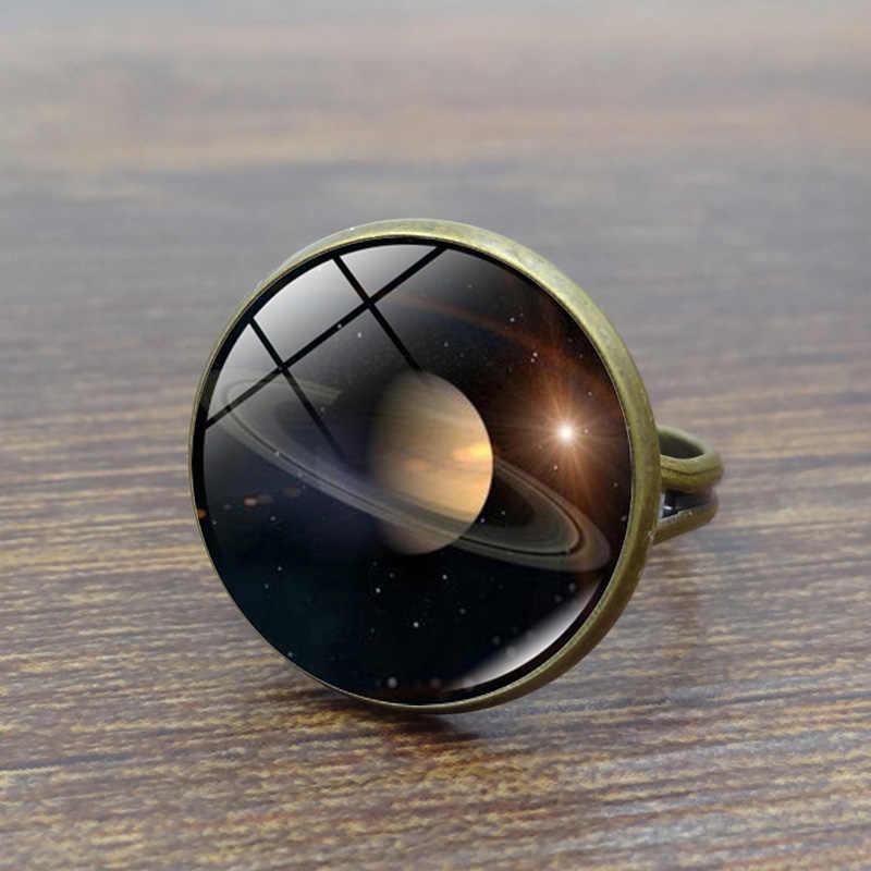 Universo sistema solar planeta vidro cabochão anel galáxia terra marte saturno neptune arte imagem anéis de cristal para mulher