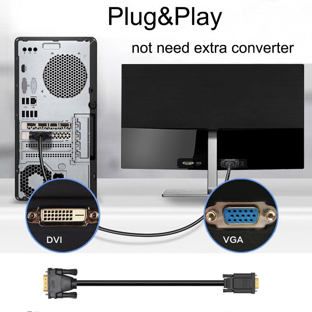 Image 5 - Адаптер PCER DVI 24 + 5 В VGA, переходник папа папа DVI, цифровой видео кабель DVI, VGA кабель, монитор ПК, HDTV проекторКабели DVI    АлиЭкспресс
