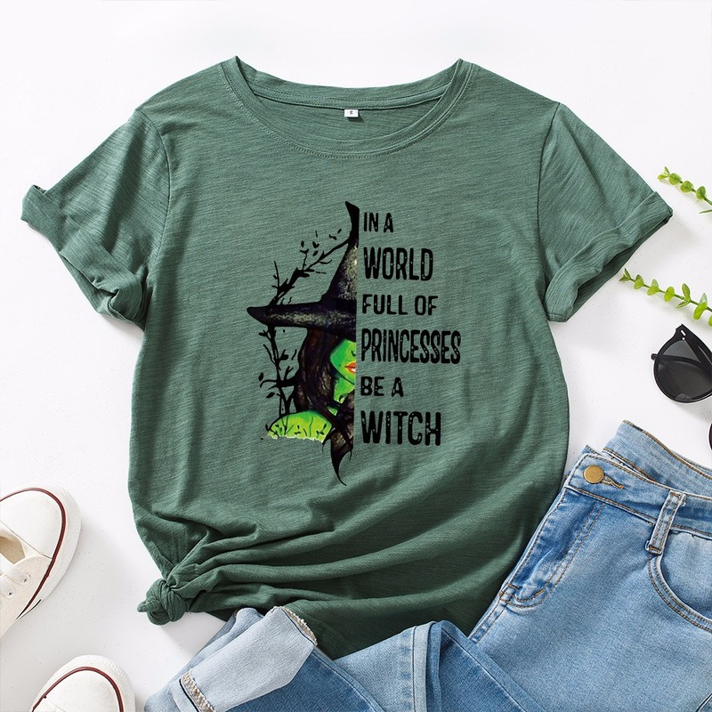 JCGO Fashion Summer T Shirt Women Plus Size 5XL Cotton Halloween Witch Print Female Short Sleeve Tshirts Casual Lady Tops Tee 1