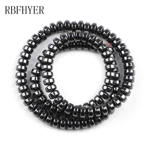 Black Natural Hematite Loose Spacer Beads Oval Charm Round Stone for Jewelry Making DIY Bracelet Necklace Accessories 4/6/8/10mm(China)