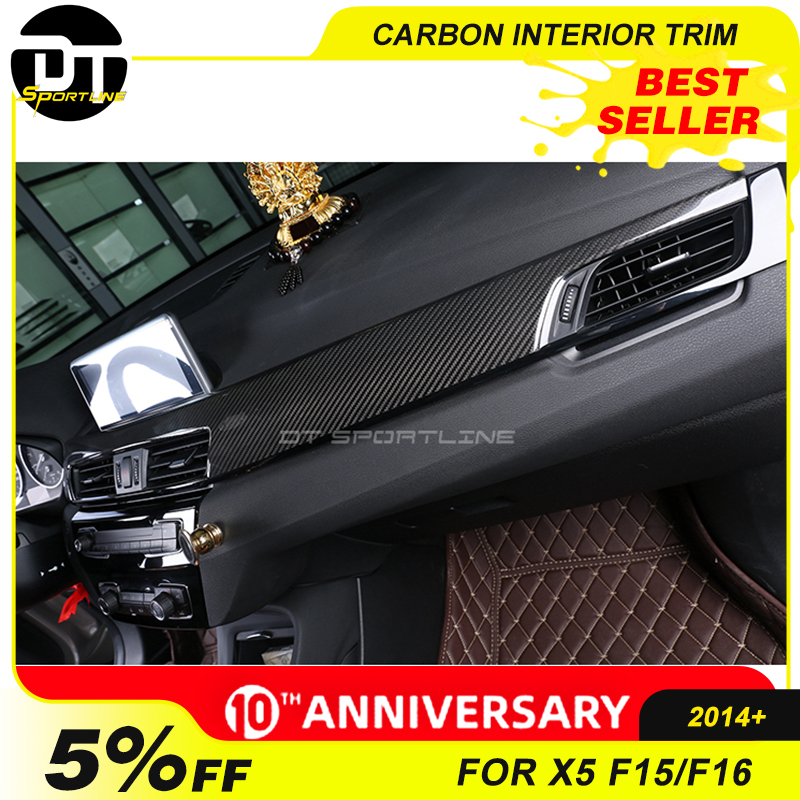 100% Real Carbon Fiber Interior Door Trim For BMW X5 SERIES F15 F16 Dashboard Kit Central Console AC Cover 2014+ Car Styling