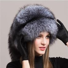 Zimowe damskie futrzane czapki prawdziwe oryginalne lis naturalny futrzane czapki nakrycia głowy rosyjskie odkryte dziewczyny czapki czapki zimowe damskie eleganckie czapki tanie tanio YECHNE WOMEN Dla dorosłych Stałe h1902 Futro Bomber Hats