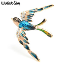 Wuli Bayi 3 Warna Terbang Swallow Bros Wanita Alloy Berlian Imitasi Biru Ungu Multicolor Burung Pernikahan Bros Pin Hadiah(China)