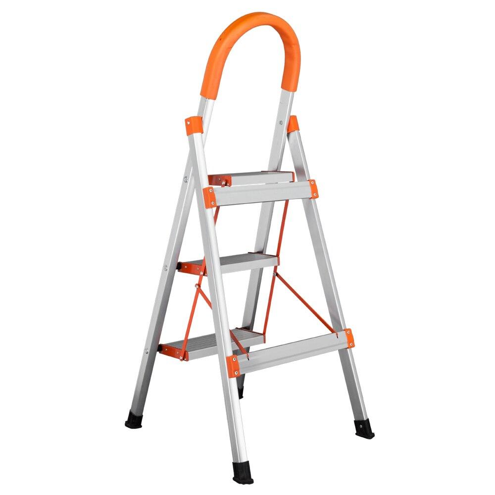 Protable Non-slip 3-Step Aluminum Ladder Folding Platform Stool 330 Lbs Load Capacity Orange