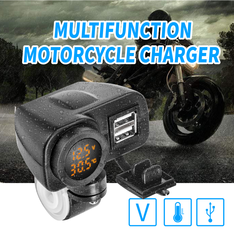 Usb Charger Motorcycle Quick Charge Plug Kit 4.2 A Voltage Temperature Display Cable Switch On/Off Waterproof Dual Usb 12V 24V S