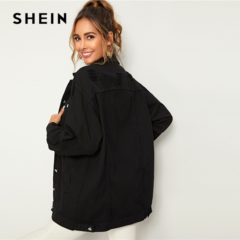 SHEIN Black Solid Pocket and Button Front Denim Jacket Coat Women's Shein Collection