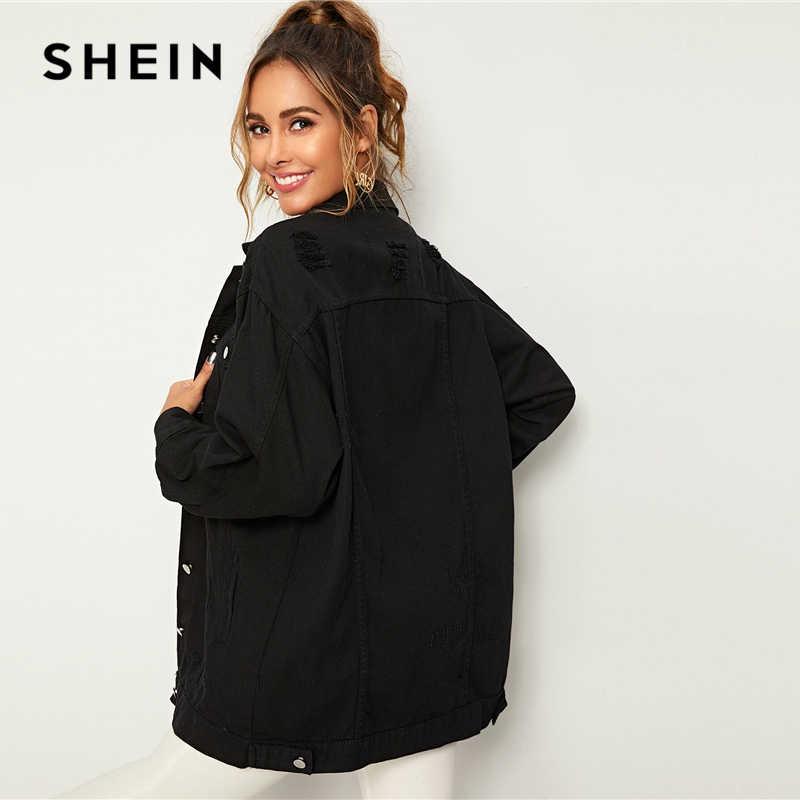 SHEIN Zwart Solid Pocket en Knop Front Denim Jas Jas Vrouwen Herfst Streetwear Turn-down Kraag Casual Jassen Uitloper