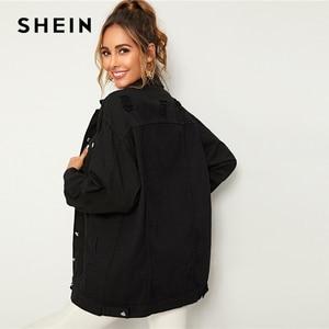 Image 2 - SHEIN 黒ソリッドポケットとボタンフロントデニムジャケットコート女性秋のストリートターンダウン襟カジュアルジャケット生き抜く