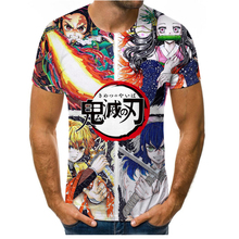 Cartoon animation fashion summer 3D printing men's short-sleeved T-shirt hip-hop pattern street clothes loose casual round neck