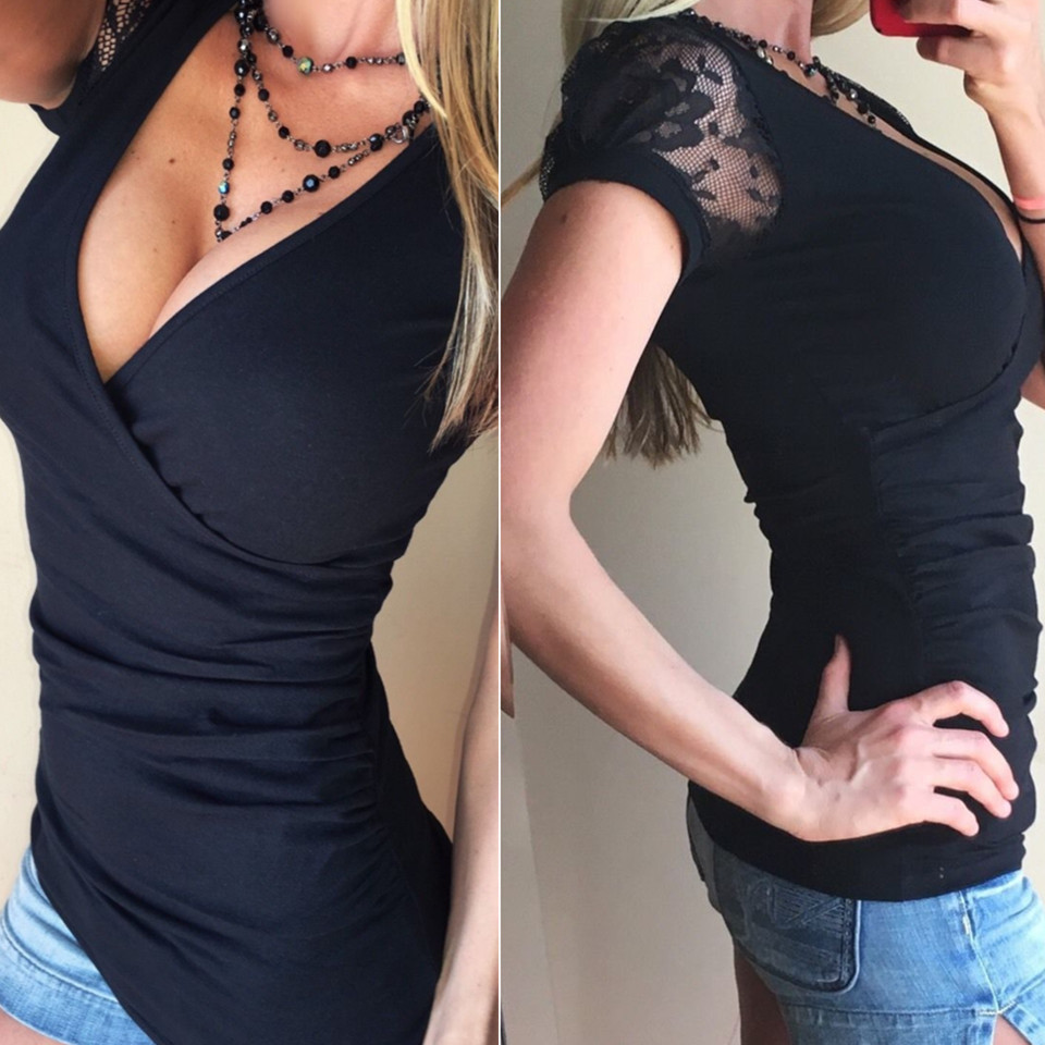 Deep V Neck Women Shirt With Lace Short Sleeve Mesh Embroidery Elastic Shirt Harajuku Style Solid Color Sexy Clothes Wrap Shirt