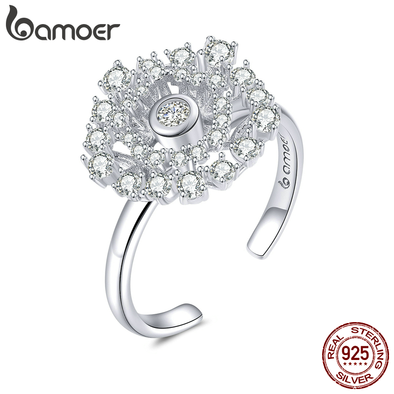 VOROCO BNR079 Dandelion Love Zircon Adjustable Finger <font><b>Rings</b></font> <font><b>Real</b></font> <font><b>925</b></font> Sterling Silver <font><b>Ring</b></font> <font><b>for</b></font> <font><b>Women</b></font> Bloosm Delicate Fine Jewelry image