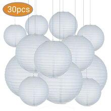 30 sztuk/partia Mix rozmiar (15cm,20cm,25cm,30cm) biały papier latarnie chiński papier Ball Lampion na wesele dekoracje świąteczne