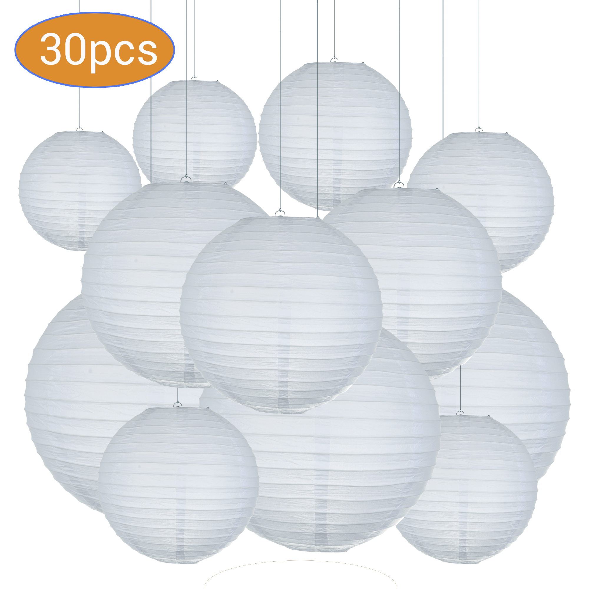 30pcs/Lot Mix Size (15cm,20cm,25cm,30cm) White Paper Lanterns Chinese Paper Ball Lampion For Wedding Party Holiday Decoration
