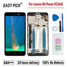 레노버 K6 파워 K33a42 LCD 디스플레이 터치 스크린 디지타이저 어셈블리 교체 레노버 K6 듀얼 sim에 대한 프레임 무료 도구