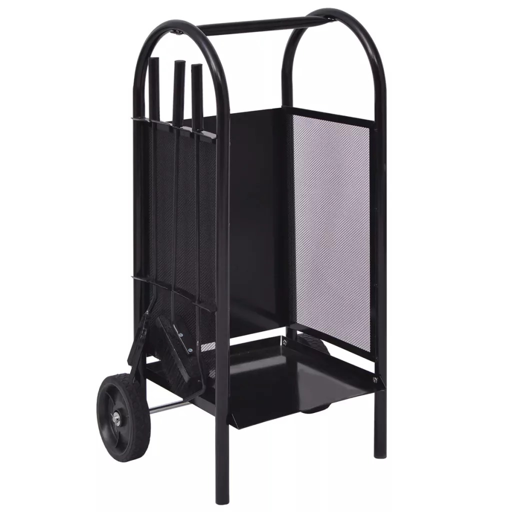 Handy Firewood Cart Elegant Design Easy Transport Of Wood Iron With Sturdy Trolley Useful For Home Fireplace