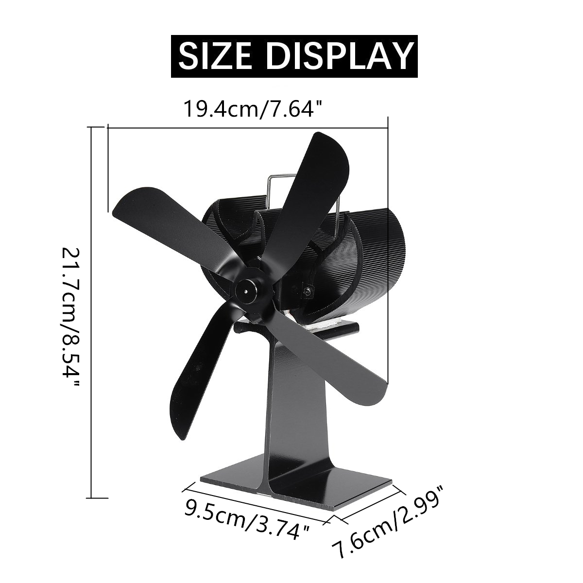 New 4 Blade Aluminum Fireplace Heat Powered Stove Fan Komin Log Wood Burner Eco Friendly Quiet Fan Home Efficient Heat Distribut