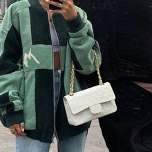 Contrast Green Vintage Corduroy Oversized Woman Jacket Coat