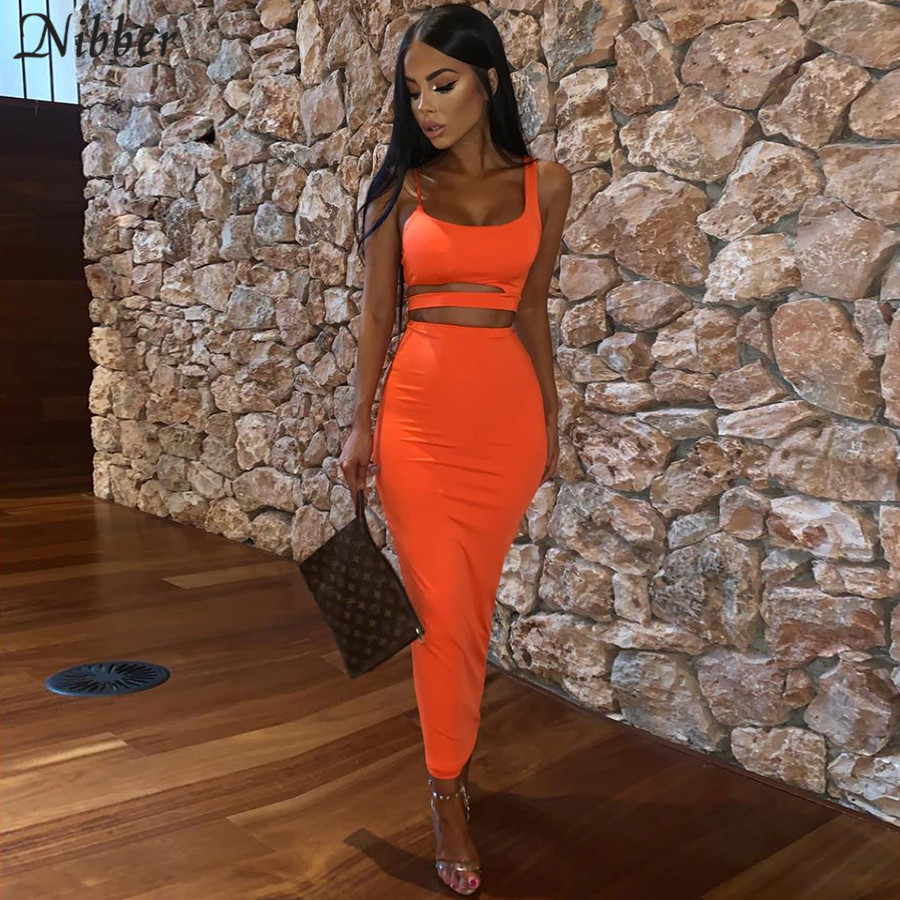 Nibber Autumn Club Party Night Skirts 2two Pieces Sets Women Neon Bodycon Midi Skirts Hollow Camis Summer Office Lady Suit Mujer