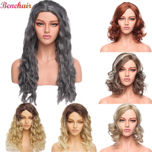 Curly Wig Cosplay Women Fiber-Hair Natural-Part Heat-Resistant Purple Long