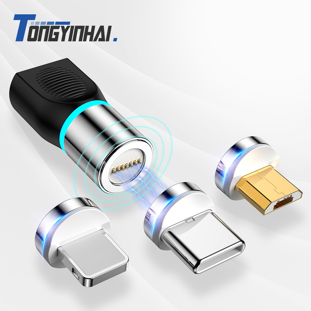 USB C Micro USB 8 Pin Magnetic Charging Data Adapter Converter For Huawei IPhone X Samsung S9 S8 S7 HTC For Xiaomi Smart Phone