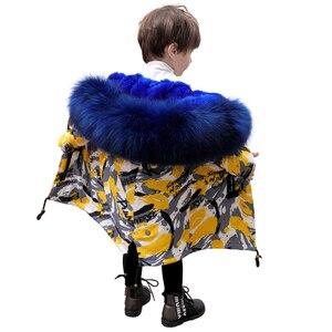 Image 4 - Parkas de piel Natural para niños, chaqueta con diseño de grafiti, chaquetas de piel para niños, ropa cálida para niñas, forro de piel de conejo desmontable