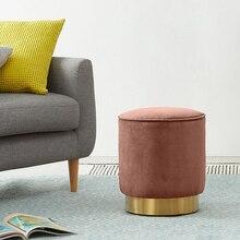 Nórdico personalizado, taburete de hierro dorado Vintage para el hogar, Banco Circular otomano, silla de chico para niños, sala de estar, pequeño sofá para mesa de té